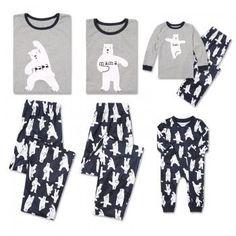 Adorable Family Yoga Bear Printed Long Sleeve Family Matching Pj's Set