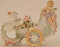 Dresden porcelain swan, chariot and cherub, circa 1910