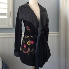 Caite for Anthropologie Black Embroidered Wrap Embroidered Tie Cardigan from Caite for Anthropologie. NWOT. Size small 4-6. Anthropologie Sweaters Cardigans