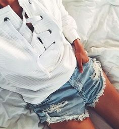 lace up sweaters + cutoff denim shorts