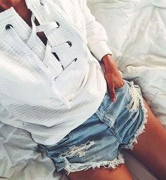lace up sweaters + cutoff denim shorts