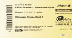 Kickers Offenbach - Borussia Dortmund, 27.10.2010, Stadion am Bieberer Berg, Offenbach #OFC #Kickers #Offenbach #BVB #Ticket