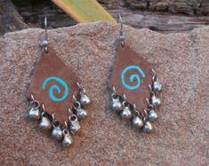 Hippie Tribal Boho Leather Earrings, Hand Painted Leather, Vintage Metal Bells, Gift Under 20