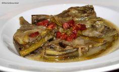 Receta Alcachofas con espárragos trigueros y taquitos de jamónHortoGourmet/Artichokes with green asparagus and ham