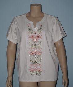 Alfred Dunner 2x Floral Embroidered Crochet Sleeve Split V-Neck Knit Top Shirt #AlfredDunner #KnitTop #Casual