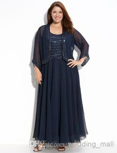 Wholesale Mother of the Bride - Buy Sexy Fashion Sequins Beads Scoop Plus Size Ankle Length Chiffon Mother Of The Bride Dresses Gorgeous Party Dresses With Long Sleeves Jacket, $107.96 | DHgate