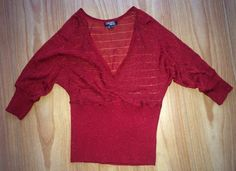 Xoxo Collection M Metallic Red Lightweight Rayon Knit Top V-neck Ruched