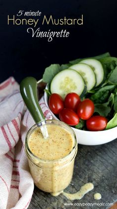 This dressing is good enough to drink! - Eazy Peazy Mealz 5 Minute Honey Mustard Vinaigrette: Sweet, tangy, and oh so good, you will want to drink this easy 5 minute Honey Mustard Vinaigrette! Honey Mustard Vinaigrette, Honey Mustard Dressing, Balsamic Vinegarette, Salad Dressing Recipes, Salad Recipes, Vinagrette Dressing Recipe, Gluten Free Salad Dressing, Best Salad Dressing, Eazy Peazy Mealz