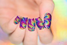 Simply Nailogical: Sparkly rainbow watermarble with NO WATER