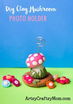 Let this DIY Clay Mushroom Photo Holder give your precious photo or quote a place of pride on your desk! Perfect as a gift for kids, teenagers and adults! Clay Crafts For Kids, Kids Clay, Craft Projects For Kids, Diy For Kids, Easy Crafts, Gifts For Kids, Craft Ideas, Diy Kids Furniture, Fairy Furniture
