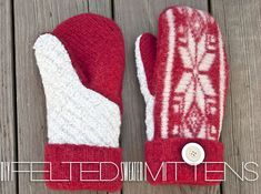 How to make mittens from a wool sweater. I want to make 10 pairs of these! Free printable pattern. Click to see template and full tutorial.