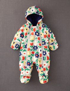 Baby Girls Woodland Flowers Hooded Pramsuit Coat /& Mittens Newborn to 18 Months