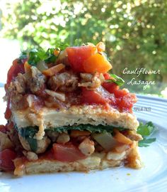 Grain-free, dairy-free Cauliflower Lasagne from www.PopularPaleo.com! Made with sausage, but totally delicious without for a vegetarian option.