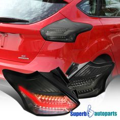 2017 2016 Ford Focus 5d Hatchback Chrome Led Tail Lights Brake Lamps Smoke Pair