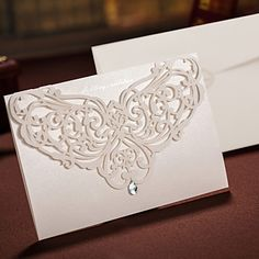 Floral Cut-out Wedding Invitation With Rhinestone -Set Of 50/20 (More Colors) – AUD $ 35.74