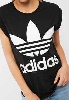 03e3b7ab Boyfriend trefoil roll up tee - black core adidas Originals T-Shirts |  Superbalist.