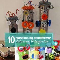 10 ideias de como fazer brinquedos com latas vazias. Instrumento musical, porta lápis, boneco, jogos e mais.