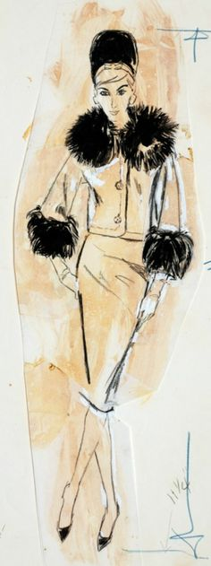 Fashion illustration by Mimi Monette (1914-2010), Woman in suit with fur collar and cuffs, Conte, gouache, ink, pencil.