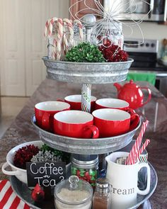 Use less surface space with this beverage tower! It also looks fun & festive! . . . #Christmas #YYC #YEG #Calgary #Edmonton