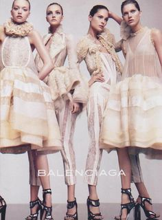 Gemma Ward, Caroline Trentini, Erin Wasson & Iselin Steiro by David Sims for Balenciaga S/S 2006