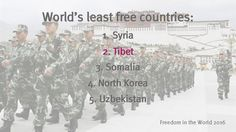 Tibet, one of the five least free countries in the world