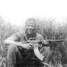 75th Rangers Quang Tri in 1970 with a CAR-15 colt Commando and adjustable stock. A mechanic joined a 20 rounder to a 30 and made a longer spring. ~ Vietnam War