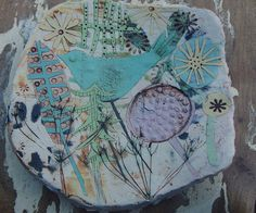 Elizabeth Howe Hand made Stoneware dish decorated with coloured slips Ceramic Painting, Ceramic Art, Clay Owl, Sculptures Céramiques, Pottery Classes, Pottery Sculpture, Slab Pottery, Ceramic Jewelry, Contemporary Ceramics