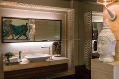 Buddha Decor, Bathroom Lighting, Powder Rooms, Interior Design, Mirror, Bathrooms, Furniture, Blog, Home Decor