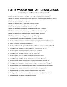 Here are 63 flirty would you rather questions to ask the girl you like! These questions are fun and would definitely be great to ask on a date! Questions To Ask People, Questions To Get To Know Someone, Flirty Questions, Truth Or Dare Questions, Questions To Ask Your Boyfriend, Would You Rather Questions, Getting To Know Someone, Couple Questions, This Or That Questions