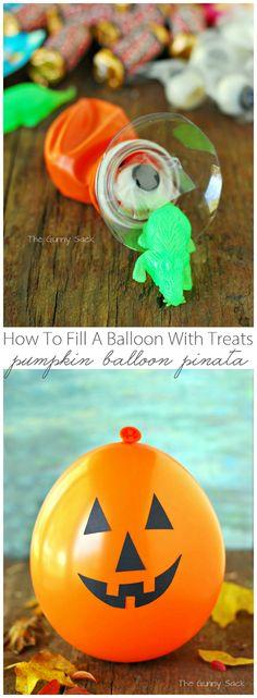 How To Fill A Balloon With Treats for a Pumpkin Balloon Pinata #partyidea