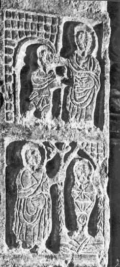 Relieve Visigodo. Pilastra d San Salvador. Toledo. escenas: curación de un ciego. Resurrección Lazaro.