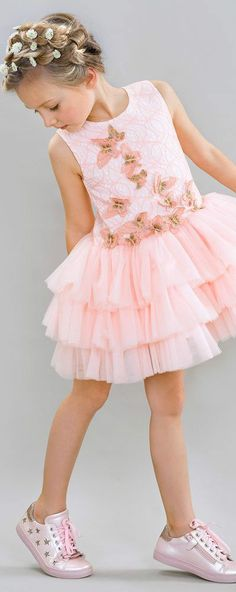LE MU Girls Pink Tulle Butterfly Party Dress. For special occasions, this pink Le Mu dress is a stunning choice. The fitted lace bodice has glistening gold thread running through it, and a cascade of embroidered butterfly appliqués. Perfect vintage style party dress for a little princess at any special occasion or wedding. Pretty Style for for stylish kid, tween and teen girls. #kidsfashion #fashionkids #girlsdresses #childrensclothing #girlsclothes #girlsclothing #girlsfashion #flowergirl