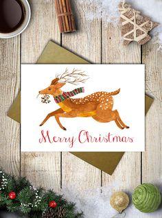 Woodland watercolor deer christmas card deer by aCupOfCreativity