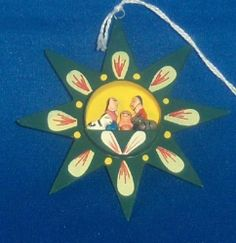 Hand Painted Green Wood Star Nativity Figures Peru NEW 10,000 Villages Christmas