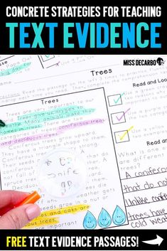 Learn my best concrete strategies for teaching the reading skill of text evidence to primary learners.>> Also includes a link to free text evidence reading passages! #literacy #reading #freebie #readingpassages