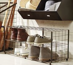 Kellan Shoe Rack #potterybarn - Looking for shoe rack ideas for Maddie's bedroom...