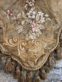 Beautiful French embroidered valance with piped tassel trim.