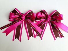 Horse Show Bows - pink and brown by Bows4Shows on Etsy, $25.00
