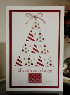 Stampin' Up! ... handmade Christmas card from Stampin' & Scrappin' with Stasia: Trendy Triangles ... triangle tree built with triangles punched from printed papers ... clean and graphic look ... like it!