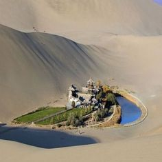 Located approximately 6 km miles) from the outskirts of the city of Dunhuang in Western China, lies Crescent Lake, an incredible oasis in the Gobi desert. Known as Yueyaquan in Chinese, the crescent-shaped lake is a major tourist attraction Dunhuang, Places To Travel, Places To See, Places Around The World, Around The Worlds, Beautiful World, Beautiful Places, Crescent Lake, Cresent Moon