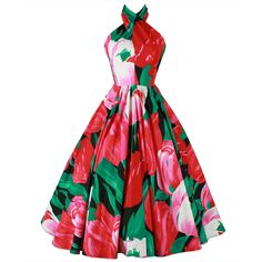 I would imagine this designer was paying homage to the late 1950's too ~ Vintage 1980's Victor Costa Twisted Halter Tulip Print Dress