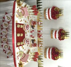 RED and GOLD Baby Shower Candy Buffet Centerpiece with Baby Shower Favors / Boys Red and Gold Prince Baby Shower Theme and Decorations