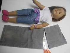 American girl doll jeans made from scraps of old jeans.