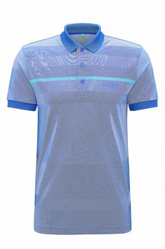 Regular-fit polo shirt in technical fabric  Open Blue from BOSS Green for Men for £119.00 in the official HUGO BOSS Online Store free shipping