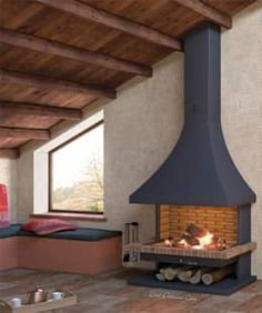 Home Fireplace, Fireplace Design, Modern Wood Burning Stoves, Indoor Fire Pit, Unfinished Wood Furniture, Freestanding Fireplace, House Inside, Tiny House Plans, Farmhouse Design