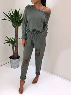 d15238d9cd9b Shop Trendy Ripped Skew Neck Tied Waist Casual Jumpsuit – Discover sexy  women fashion at Boutiquefeel