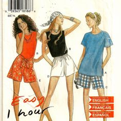 An Easy Sleeveless or Short Sleeve Top and Shorts in 2 Lengths Pattern