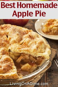 The Best Homemade Apple Pie Recipe - This homemade apple pie recipe has been in our family for 75 years or more and still takes the spot at any meal when served. pies The Best Homemade Apple Pie Recipe - Grandma's Delicious Apple Pie Homemade Pie Crusts, Homemade Apple Pies, Apple Pie Recipes, Apple Pie Recipe Easy, Baking Apple Pie, Classic Apple Pie Recipe, Apple Pie Bake Time, Granny Smith Apple Pie Recipe, Recipes For Apples