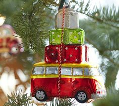 Van with Packages Ornament #potterybarn Sooooooo going to buy this for Angela's friend Aja for Christmas!  She has a van just like it!