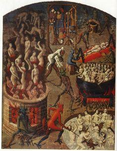 Los tormentos infernales de los condenados. Ilustración en manuscrito del siglo XV. http://iglesiadesatan.com/